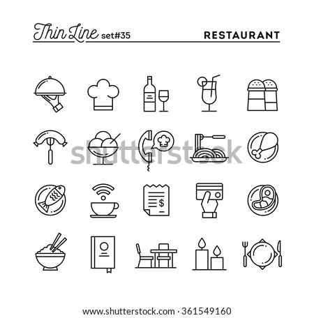 Restaurant, phone ordering, meal, receipt and more, thin line icons set, vector illustration