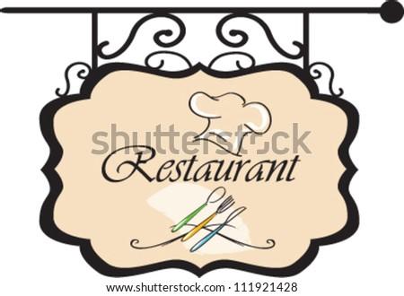 Restaurant plate hanging  vector