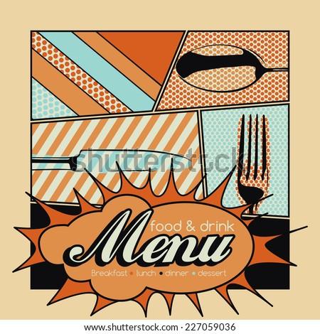 Restaurant Pop Art Menu Design - Food & Drink