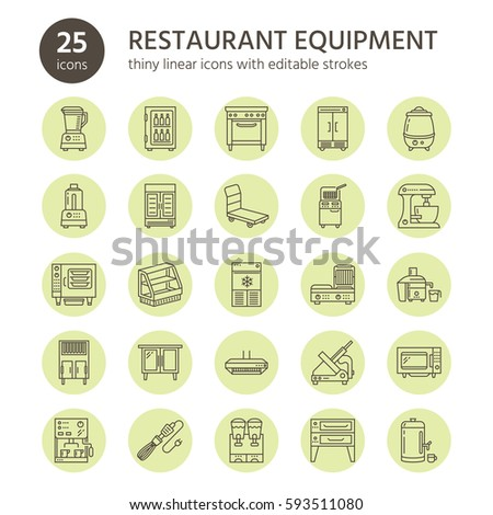 Restaurant professional equipment line icons. Kitchen tools, mixer, blender, fryer, food processor, refrigerator, steamer, microwave oven. Thin linear signs for commercial cooking equipment store