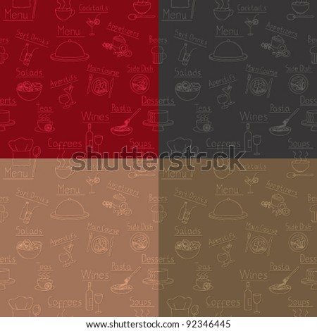 Restaurant related backgrounds with seamless pattern in four colors
