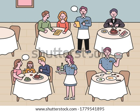 Restaurant scenery. Waitresses serving customers and dining at the table. flat design style minimal vector illustration.