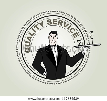 Restaurant service vector label