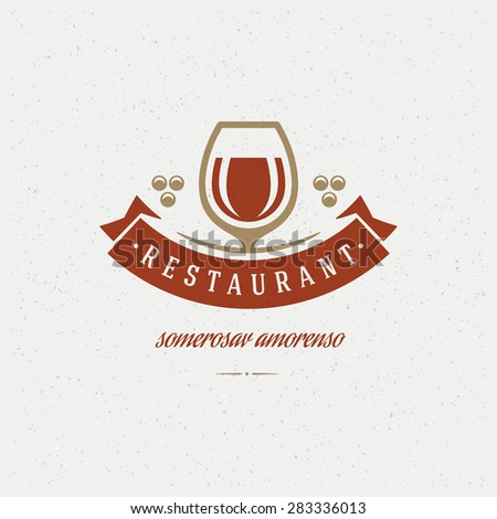 Restaurant Shop Design Element in Vintage Style for Logotype, Label, Badge and other design. Wine glass and Grapes retro vector illustration.