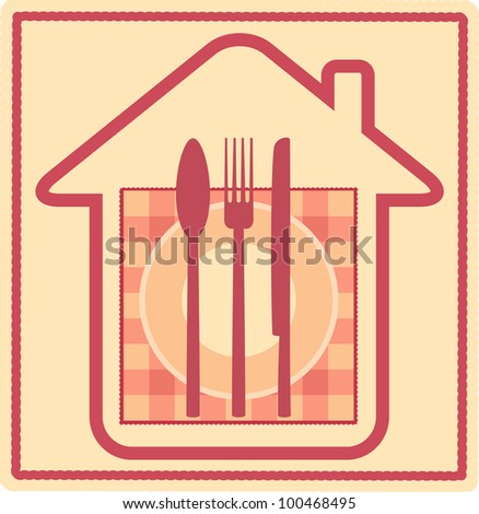 Restaurant sign with house silhouette and plate, fork, knife, spoon, napkin