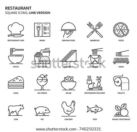 Restaurant, square icon set. The illustrations are a vector, editable stroke, thirty-two by thirty-two matrix grid, pixel perfect files. Crafted with precision and eye for quality.