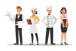 Restaurant staff characters design. Include chef, assistants, manager , waitress . Professionals team.