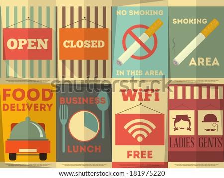 restaurant stickers set....
