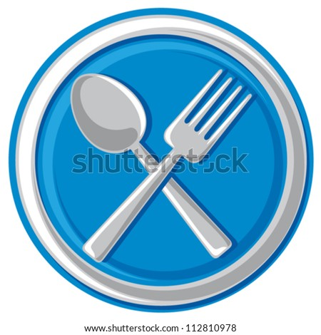 restaurant symbol - crossed fork and spoon (food icon)