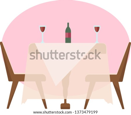 restaurant table at sunset with