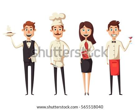 restaurant team cartoon vector
