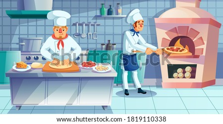 Restaurant team character engaged in traditional italian pizza preparation process. Pizza maker kneading rolling dough at table, chef assistant baking fast food product in furnace stove