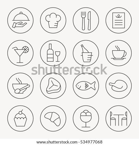 Restaurant thin line icon set