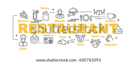 restaurant vector banner design concept, flat style with thin line art icons on white background