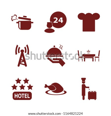 restaurant vector icons set. with chef cap, boiled pan, chef ladle and hotel five stars in set