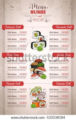 Restaurant vertical color sushi menu