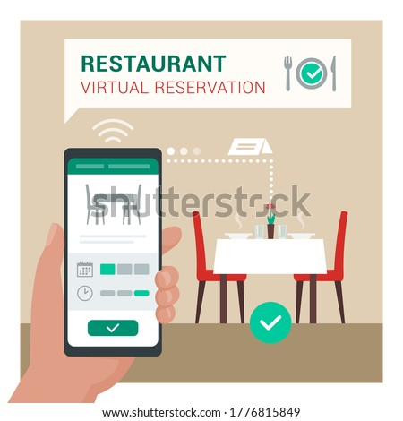 Restaurant virtual reservation: user booking a table at the restaurant using a mobile app on his smartphone Сток-фото ©
