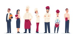 Restaurant workers. Standing in row people work in cafe. Cartoon waiter and chief, administrator and kitchen staff wear uniform. Career concept, service sector employment. Vector set of employees