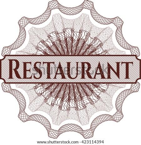 Restaurant written inside a money style rosette