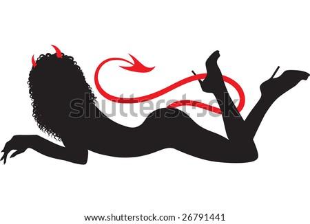 resting devil woman black
