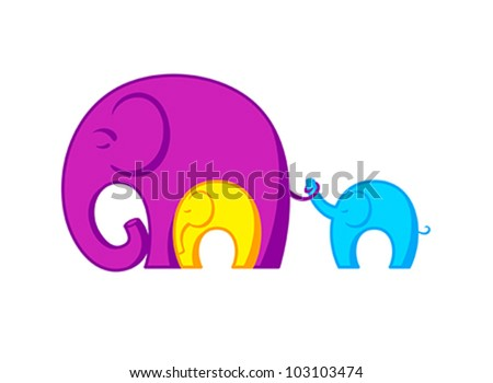 Resting Elephants family connected to each other - stock vector