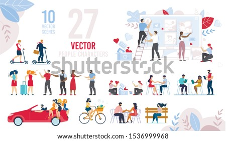 Resting, Walking, Dating, Working Cartoon People Characters Scenes Flat Set. Diverse Multiracial Citizen. Men, Women and Daily Routine Schedule. Rest, Recreation and Work Day. Vector Illustration