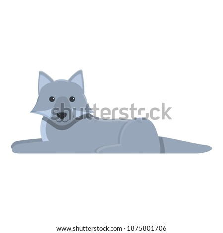 resting wolf icon cartoon of