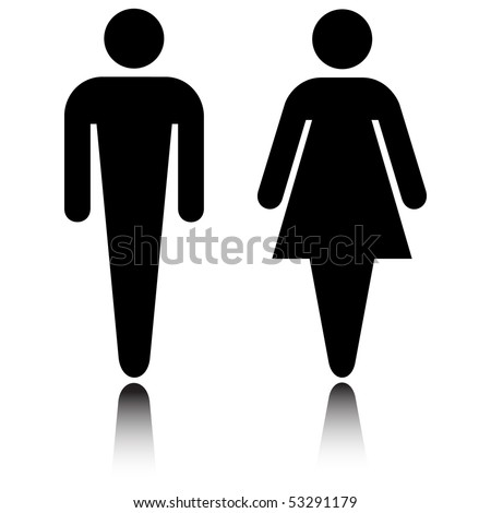 Restroom icon set with reflection isolated on white vector