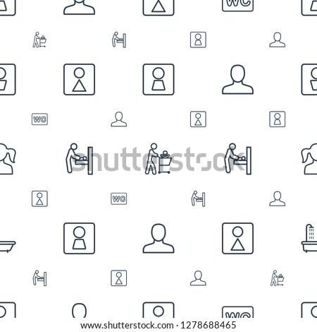 restroom icons pattern seamless white background. Included editable outline woman WC, father with not in shopping cart, WC, female WC icons. restroom icons for web and mobile.