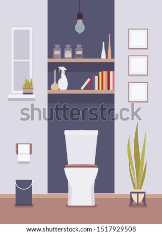 Restroom interior and design. Toilet room with shelves, lavatories, private hygiene space in office building, or restaurant wc. Vector flat style cartoon illustration