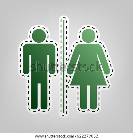 Restroom sign illustration. Vector. Green icon with outline for cutting out at gray background.
