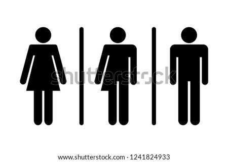 Restroom / WC / Toilet door plate icon set. Men women transgender WC sign for restroom.