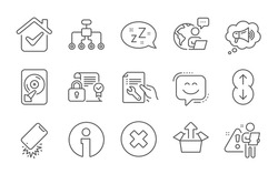 Restructuring, Smile face and Security contract line icons set. Sleep, Megaphone and Hdd signs. Close button, Send box and Smartphone broken symbols. Repair document, Scroll down and Info. Vector