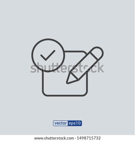 Results icon, line symbols. Editable stroke vector illustration eps10 Stock photo ©