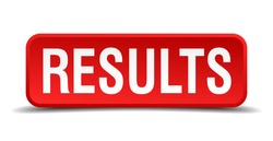 Results red 3d square button isolated on white