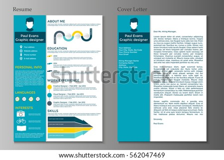 Resume And Cover Letter In Flat Style Design On Grey Background. CV Set  With Infographics  Resume Background Image