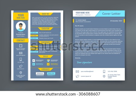 resume and cover letter or cv vector design template on two pages curriculum vitae illustrated - Cv Design Templates Vector