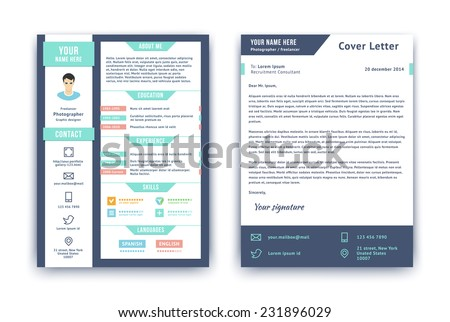 resume and cover letter or cv vector design template on two pages isolated on white - Cv Design Templates Vector