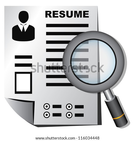 resume and magnifying glass, human resource, recruitment