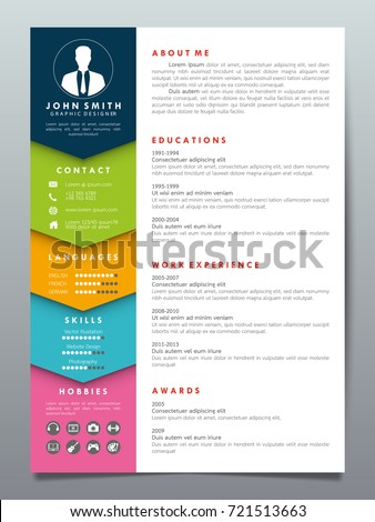 Resume design template minimalist cv. Business layout vector clean for job applications. In A4 size. Stok fotoğraf ©