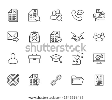 Resume flat line icons set. Hr human resources, job application, interview employee profile, teamwork, work experience vector illustrations Portfolio outline signs Pixel perfect  Editable Stroke.