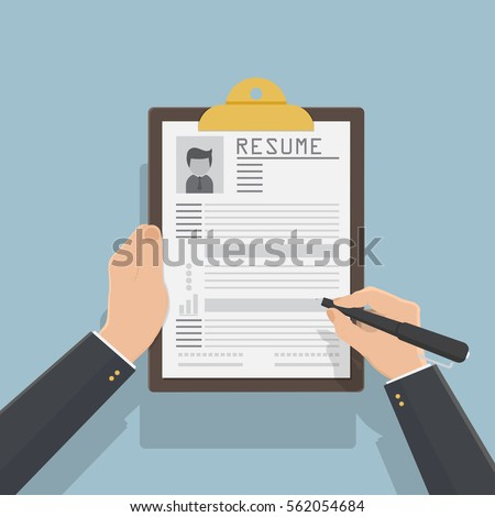 Resume form in hands. Clipboard with leaf in hand. Man fills in questionnaire. Writing business resume. Concept of employment. Vector illustration flat design. CV application. Job search.flat design.