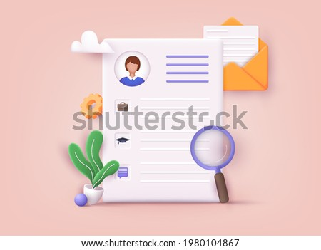 Resume. Human resource management and hiring concept. Job interview, recruitment agency. 3D Vector Illustrations.