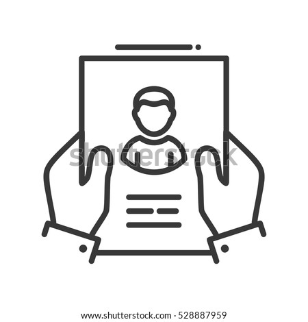 Resume - vector line design single isolated icon. Hands holding page with resume
