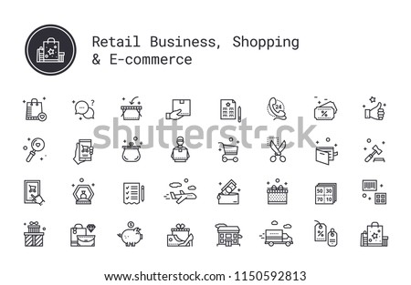 Retail business, shopping, e-commerce thin line icons. On-line shop, commerce, goods and money pictograms. Auction, airmail, courier delivery, sale coupon, wish list, delivery track, cash back service