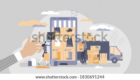 Retail e-commerce shop with warehouse packaging process tiny person concept. Fulfillment center packaging behind online store and product purchases vector illustration. Delivery and distribution scene Stock photo ©