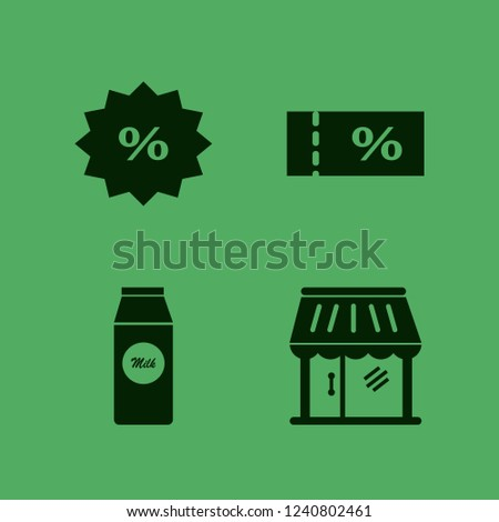 retail icon. retail vector icons set sale ticket, shop, discount tag and pack milk