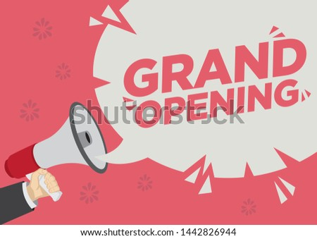 Retail Sale promotion shoutout with a megaphone speech bubble against a red background about Opening of a new store. Concept of sales, consumerism or marketing. Flat vector illustration.