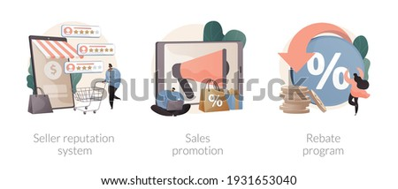 Retail sales strategy abstract concept vector illustration set. Seller reputation system, sales promotion, rebate program, advertising campaign, top rated product, discount coupon abstract metaphor. Stock photo ©
