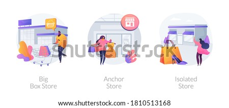 Retail shop abstract concept vector illustration set. Big box, anchor and isolated store, superstore, shopping center, department store, big retailer, fashion outlet, customer abstract metaphor.